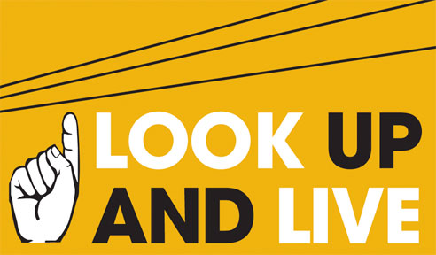 Look up and live - Safety around Powerlines, hand pointing upwards