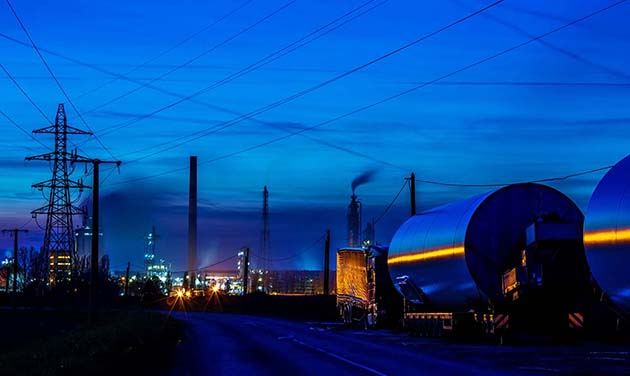 Night view of oil refinery unit